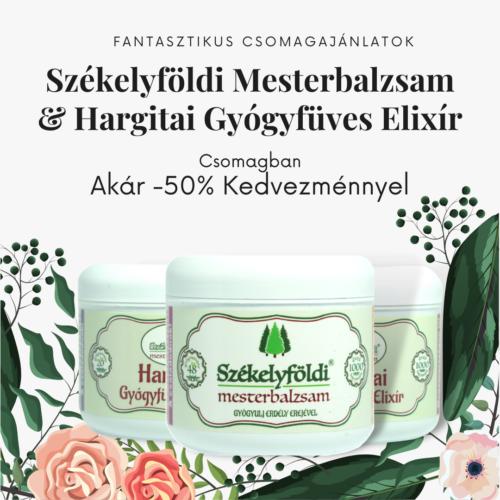 2 Hargitai Gyógyfüves Elixír és 1 Székelyföldi Mesterbalzsam 48 gyógynövénnyel – 250ml/db + Ajándék gyógynövényes párnával