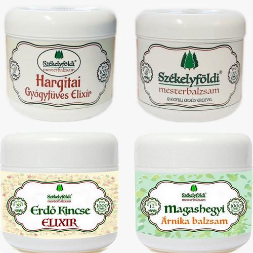 1 Hargitai Gyógyfüves Elixír – 1 Székelyföldi Mesterbalzsam – 1 Erdő Kincse ELIXIR és 1 Magashegyi ÁRNIKA Balzsam + Ajándék gyógynövényes párnával és huzattal