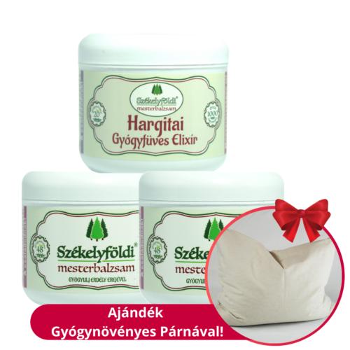1 Hargitai Gyógyfüves Elixír és 2 Székelyföldi Mesterbalzsam 48 gyógynövénnyel – 250ml/db + Ajándék gyógynövényes párnával